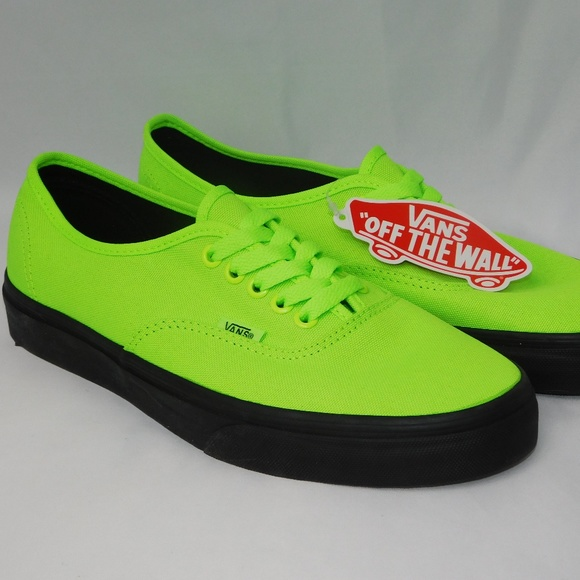 9f6016cdca VANS Authentic New Black Outer Sole Neon Green